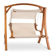 Maui Swing Chair Rocking Bench 110 cm 2-Seater Canopy Polyester Larch Beige