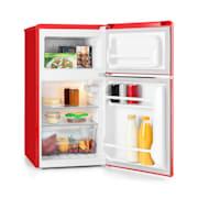 Klarstein Monroe Red, hűtőszekrény fagyasztóval, 61/24 l, A+, retro dizájn, vörös Piros