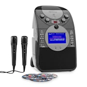 ScreenStar Karaokeanlage Kamera CD USB SD MP3 inkl. 2 x Mikrofon 3 x CD+G Schwarz | Mit CD Set