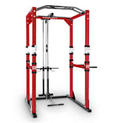Tremdour PL Power Rack Home Gym Lat Pull Steel Red White Red | With lat pull