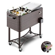 Springbreak Beverage Cart Terrace Cooler 80l Rattan Decor Brown