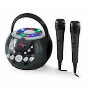 SingSing, přenosný karaoke systém, LED, provoz na baterie, 2x mikrofon Černá