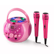 SingSing Portable Karaoke System LED Battery Operation 2 x Microphone Pink