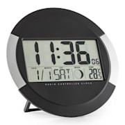 Clockwork, digitális vezeték nélküli falióra, hőmérő, naptár, holdfázis, állvány