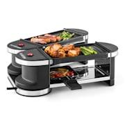 Klarstein Tenderloin, mini raclette grillsütő, 600 W, 360°-os alaprész, 2 grillezőlap grillap | 4 raclette serpenyő
