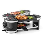 Tenderloin Mini raclette-grilli 600 W 360°-asema grillilevy kivilevy luonnonkivi/grillilevy | 4 raclette-pannua