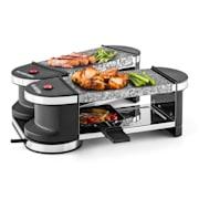 Tenderloin Mini Raclette-Grill 600W 360°-Basis 2 heiße Steine Naturstein | 4 Raclette Pfännchen