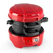 Morning Glory, červený, 600 W, příprava toastů a masa do hamburgerů, nepřilnavý Červená