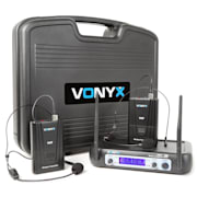 WM512H 2-canal VHF micrófono por radio bodypacks dsiplay
