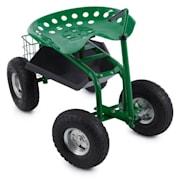 Park Ranger siedzisko ogrodowe na kołach 130 kg jezdne kosz transportowy stal kolor zielony
