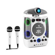 Kara Projectura, 2 в 1 караоке система, прожектор, LED, USB, MP3, CD, 2 х микрофон, бял