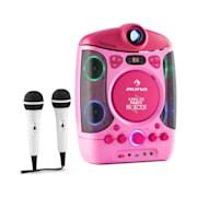 KARA PROJECTURA 2 в 1 караоке машина LCD прожектор проектор LED светлинно шоу USB розова MP3 2 микрофона CD Розов