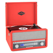 Epoque 1907, retro audio rendszer, gramofon, bluetooth, MC, USB, CD, AUX Piros