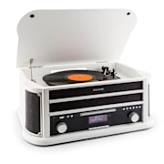 Belle Epoque 1908 DAB Retro-stereo-installatie platenspeler DAB+ bluetooth wit Wit | CD-Player / Bluetooth / DAB Radio