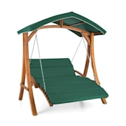 Aruba Hollywood Swing Garden Swing 130 cm 2-Seater Solid Wood Green