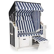Hiddensee Wicker Beach Chair XL 2-seater sunbed blue / white striped Blue