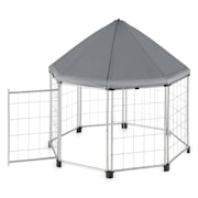 Fort Seasons Pet Pavilion With Canopy Puppy Enclosure 91 x 91 x 91 Grey