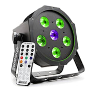 BFP110 FlatPAR, 5x 6W RGB LED diody, 3-v-1 LED lampy, DMX, IR dálkové ovládání