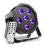 BFP130 FlatPAR, 6x 6W UV LED diody, DMX, IR dálkové ovládání