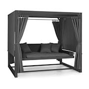 Eremitage Luxus-Hollywoodschaukel 236x180x210cm dunkelgrau/schwarz Schwarz