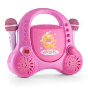 Rockpocket-A PK detský karaoke systém CD AUX 2x mikrofón nabíjacia batéria ružová farba Ružová