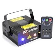 Bianca, dvojitý laser, 7 DMX kanálov, 330 mW RGB, 12 motívov, master/slave