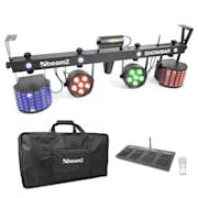ShowBar 2x PAR 2x butterfly R/G laser incl. draadloos voetpedaal afstandsbediening