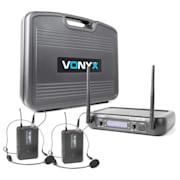WM73H, bezdrôtový mikrofónový systém, 2-kanálový, 2 x vreckový vysielač sheadsetom