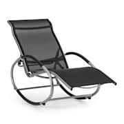 SANTORINI, люлеещ се стол стол за веранда алуминий полиестер, черен Черно