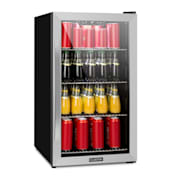 Beersafe 4XL refrigerator 124 litres 4 shelves panorama glass door stainless steel Silver | 124 Ltr