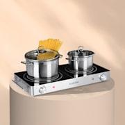 VariCook Duo kookplaat 3000W rvs behuizing handgrepen zilver Zilver