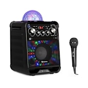 Rockstar LED Equipo de karaoke Reproductor de CD Bluetooth USB AUX 2 x 6,3mm negro Negro