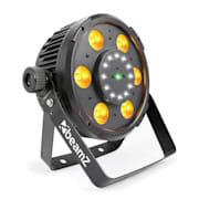 BX100 PAR LED reflektor, 6x 6W 4-v-1-RGBW-LEDiek, 12x Strobe-LEDiek, RG-Laser