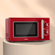 Klarstein Caroline Mikrovalovna pečica, 20l 700 / 1000 W Ø25,5cm QuickSelect Retro rdeča barva Rdeča