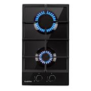 Ignito Domino, gázfőzőlap, 2 főzőzóna, Sabaf égőfej, üvegkerámia, fekete Fekete | 2_burners