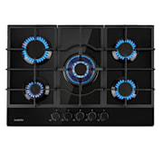 Ignito 5 Zone Gas Hob 5-Burner Sabaf Burner Glass Ceramic Black Black | 5 burners