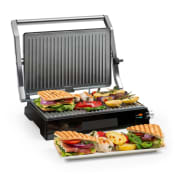 Buffalo Contact Grill Panini Maker 2000W Stainless Steel Silver / Black Non_stick_coating_metallic