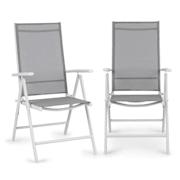 Almeria krzesło składane zestaw 2 szt. 59,5x107x68 cm ComfortMesh aluminium białe  Biały