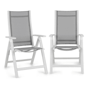 Cádiz, skládací židle, sada 2 kusů, 59,5 x 107 x 68 cm, comfortmesh, hliník/bílá Bílá