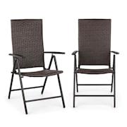 Estoril, zahradní židle, polyratan, hliník, 7 úrovní, skládací, hnědá Hnědá