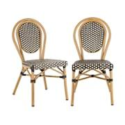 Montpellier BL, стол за кафене, възможност за поставяне на столовете върху себе си, алуминиева рамка, полиратан, черно-кремов Black_cream