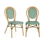 Montpellier GR, židle, možnost ukládat židle na sebe, hliníkový rám, polyratan, zelená Zelená