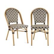 Montbazin BL, стол за кафене, възможност за поставяне на столовете върху себе си, алуминиева рамка, полиратан, черно-кремов Black_cream
