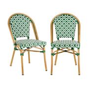 Montbazin GR, стол за кафене, възможност за поставяне на столовете върху себе си, алуминиева рамка, полиратан, зелен Зелен