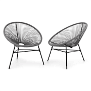 Las Brisas Chairs, zahradní židle, sada 2 kusů, retro design, 4 mm pletivo, šedé Šedá