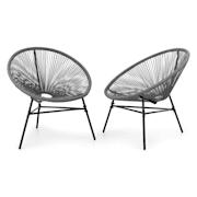 Las Brisas Chairs, vrtne stolice, set 2 komada, retro dizajn, 4 mm pletivo, sive Siva