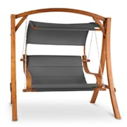 Maui Swinging Lounger 110 cm 2 Seater Solid Wood Polyester Dark Grey Grey