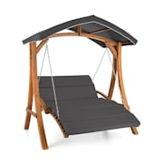 Aruba Swing Lounger Sun Roof 130cm 2-Seater Solid Wood Grey Grey