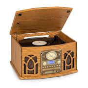 NR-620, DAB, stereo systém, dřevo, gramofon, DAB +, přehrávač CD, hnědý Hnědá