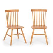 Flynn Set 2 chaises de salle à manger style Windsor  - Bois de hêtre marro